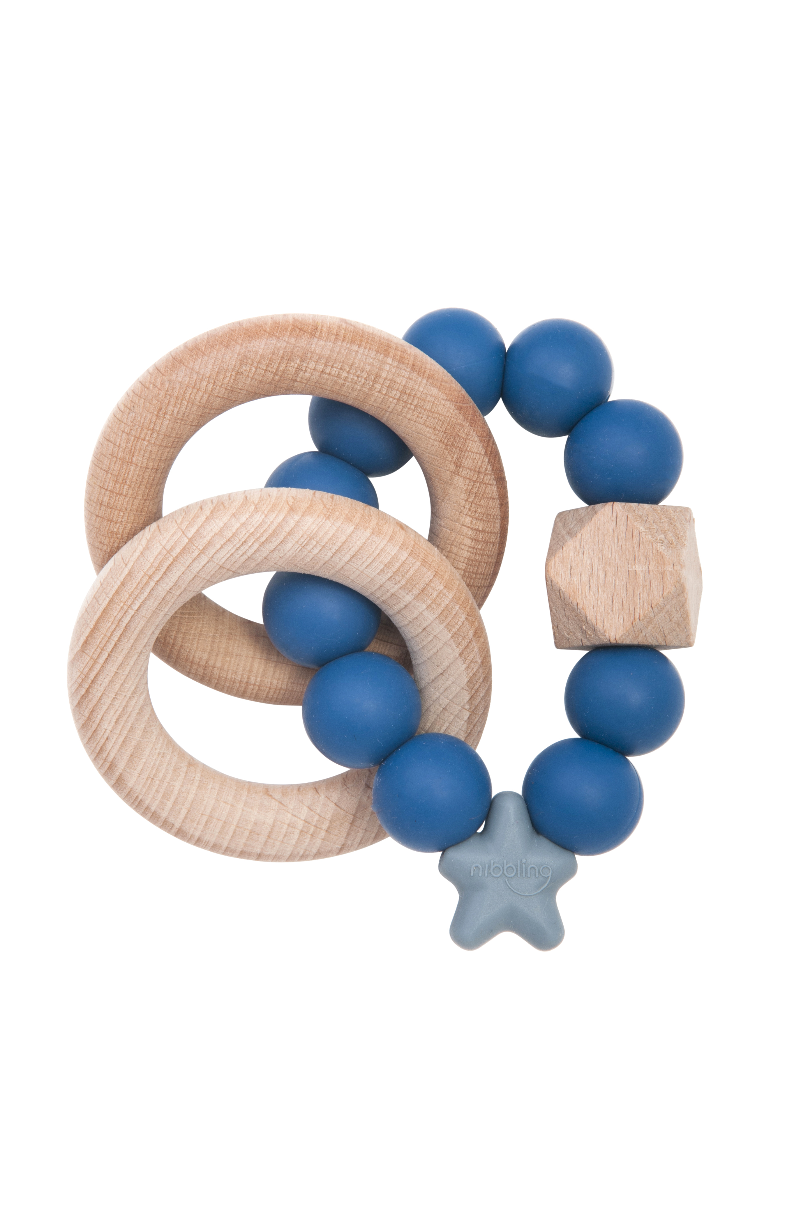 Nibbling - Stella natural wood teething toy - Blueberry