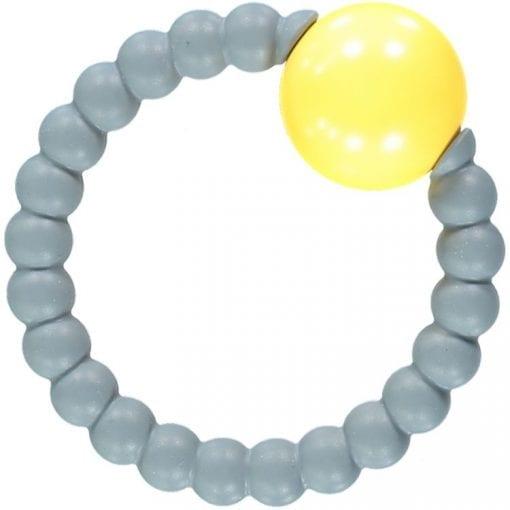 Nibbling - Rattle Ring - Grey & Yellow