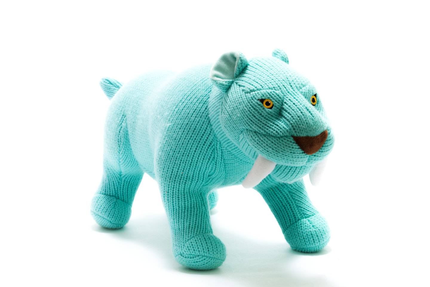 Best Years - Knitted Large Toy - Sabre tooth tiger - Ice Blue