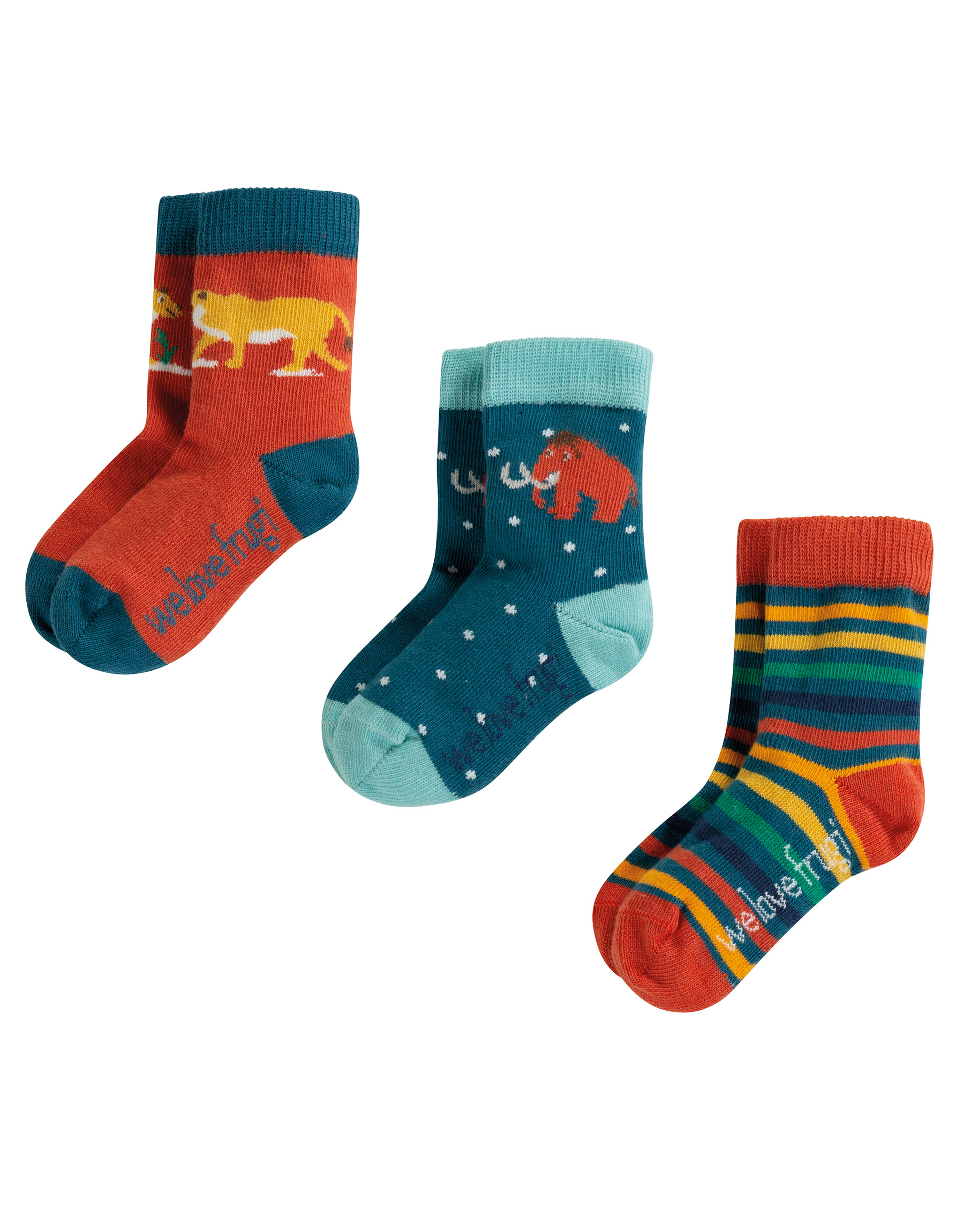 Frugi - Little Socks 3 Pack, Prehistoric Multipack