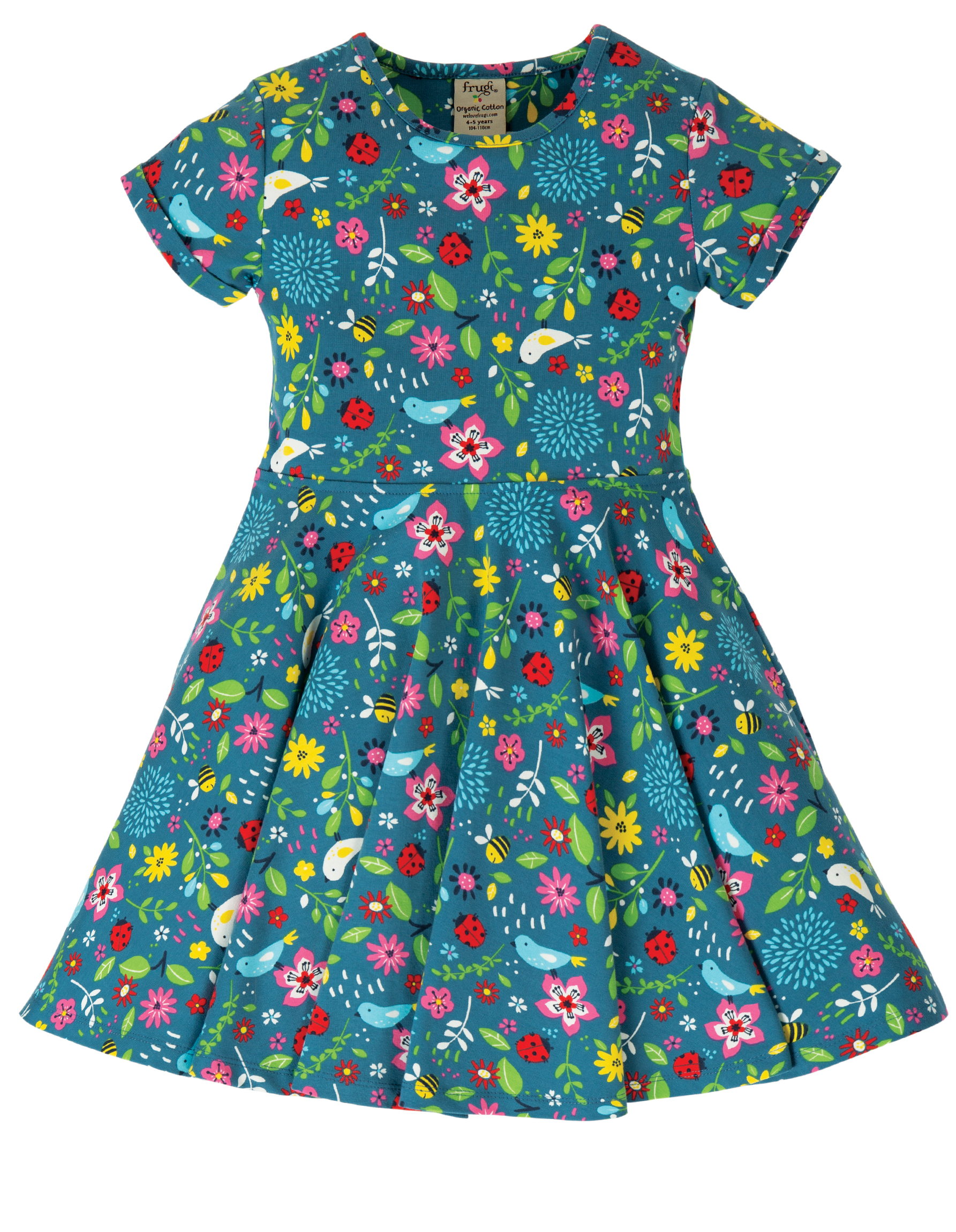 Frugi - Spring Skater Dress - Garden Friends