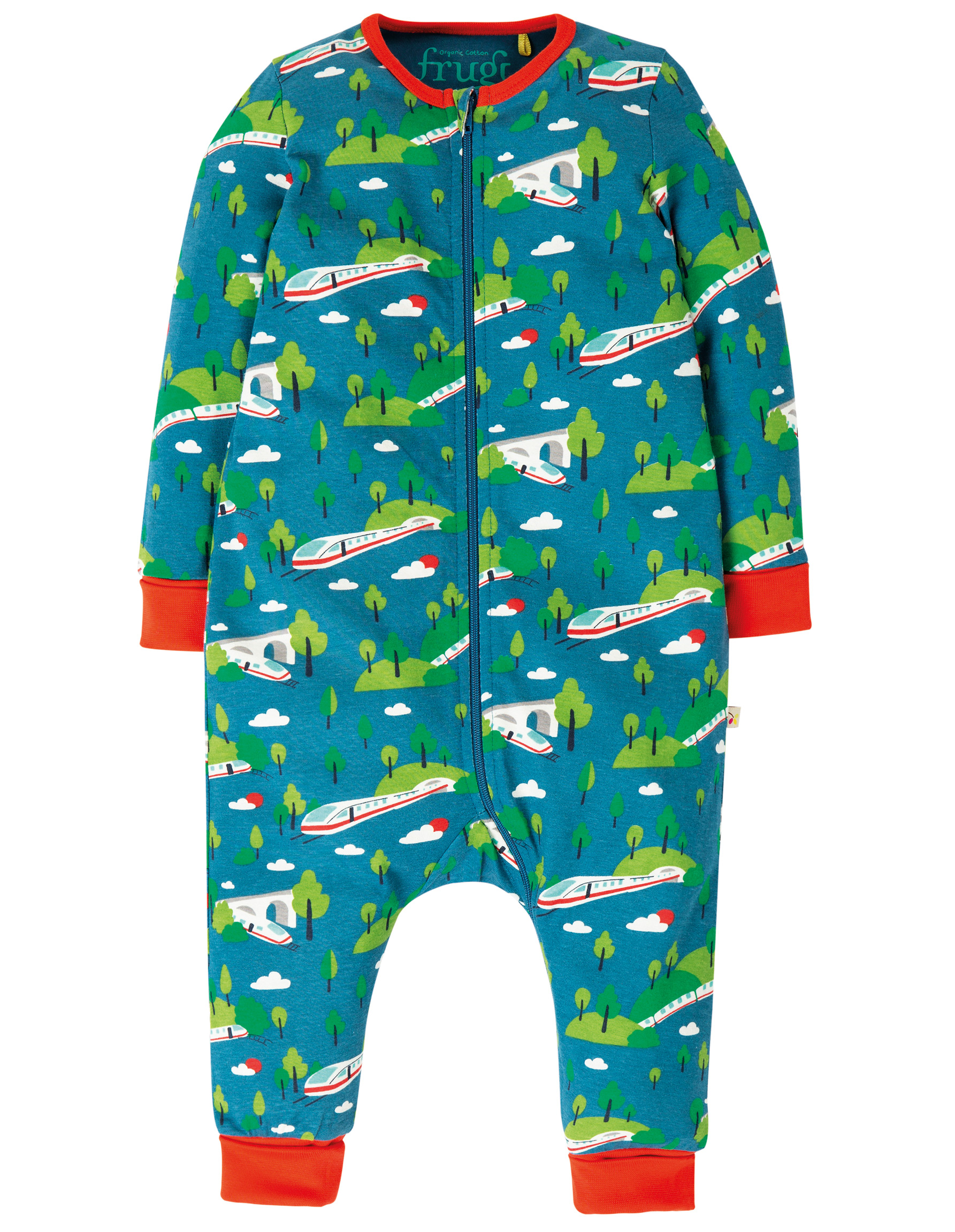 Frugi - Summer zip babygrow - Train