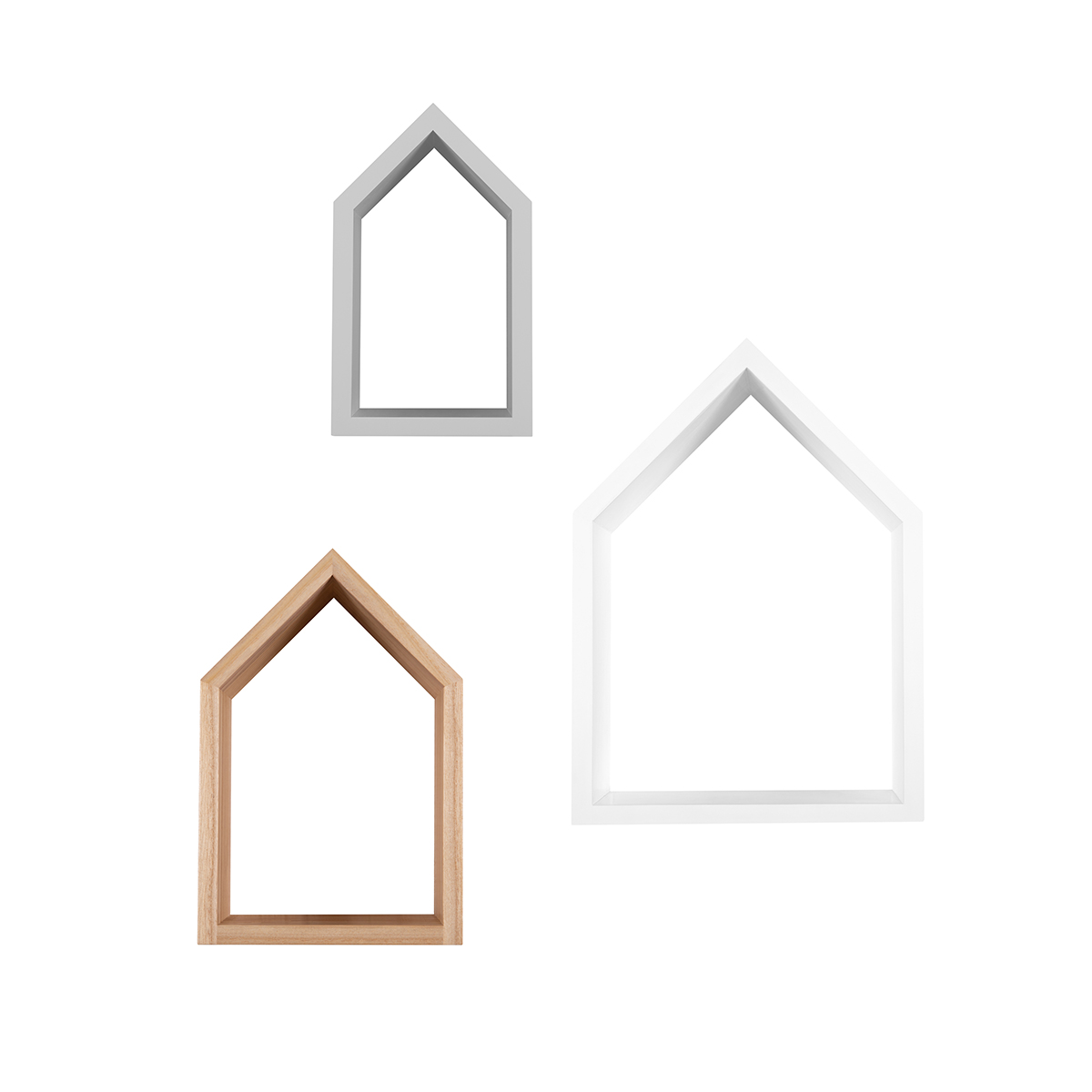 Snuz House Shaped Nursery Shelves (Set of Three) - Mixed