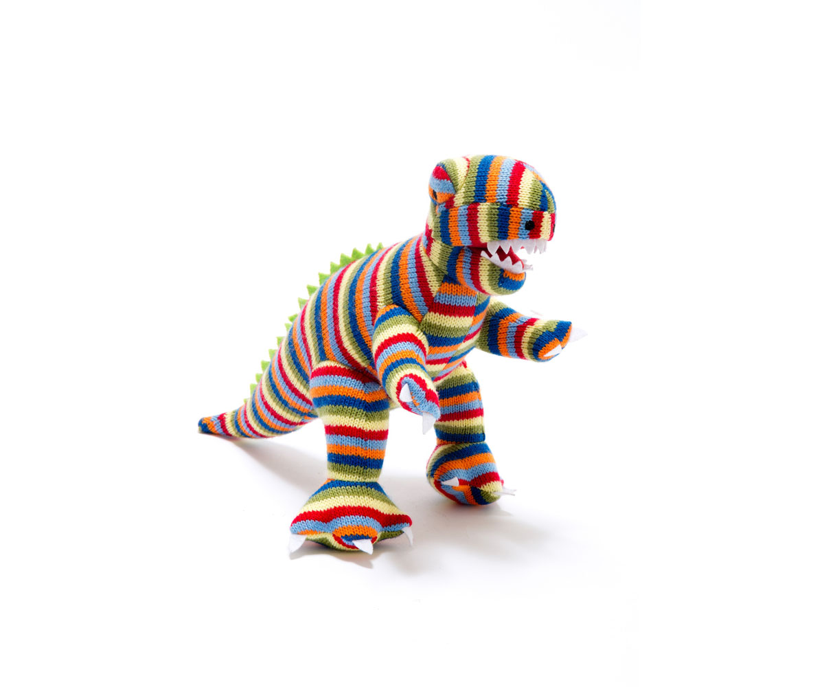 Best Years - Knitted Medium Toy - T-Rex - Stripe