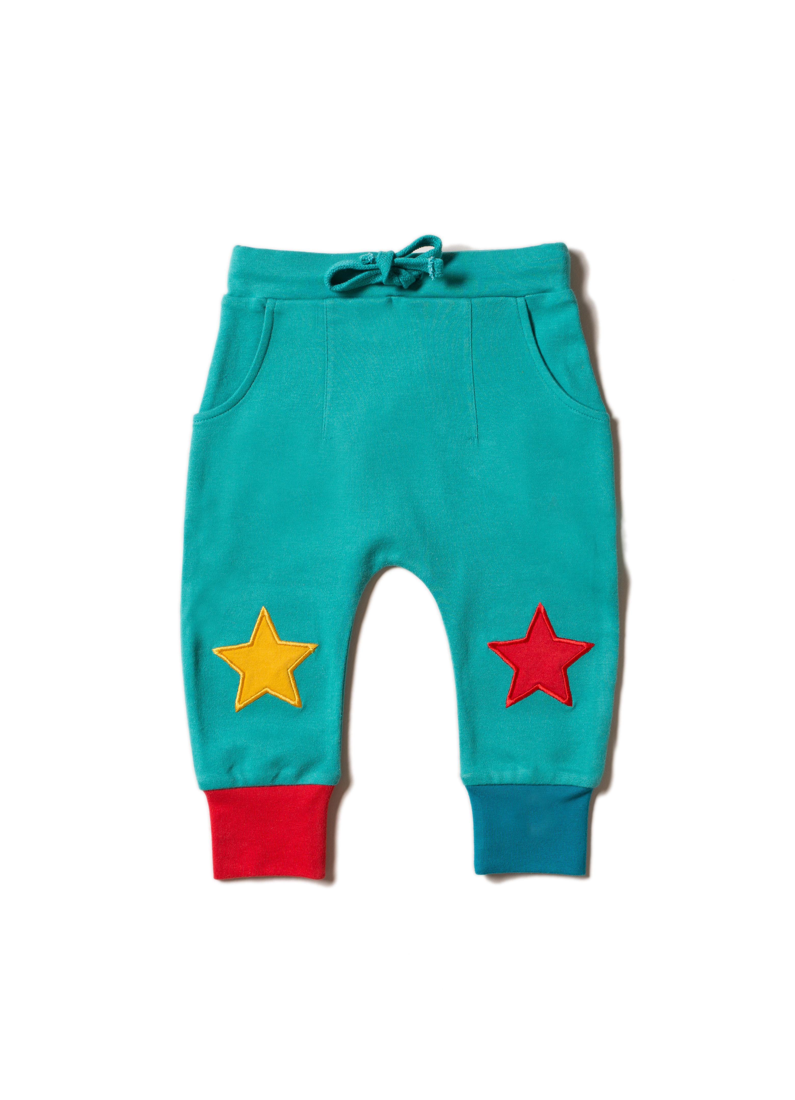Little Green Radicals - Peacock blue star joggers