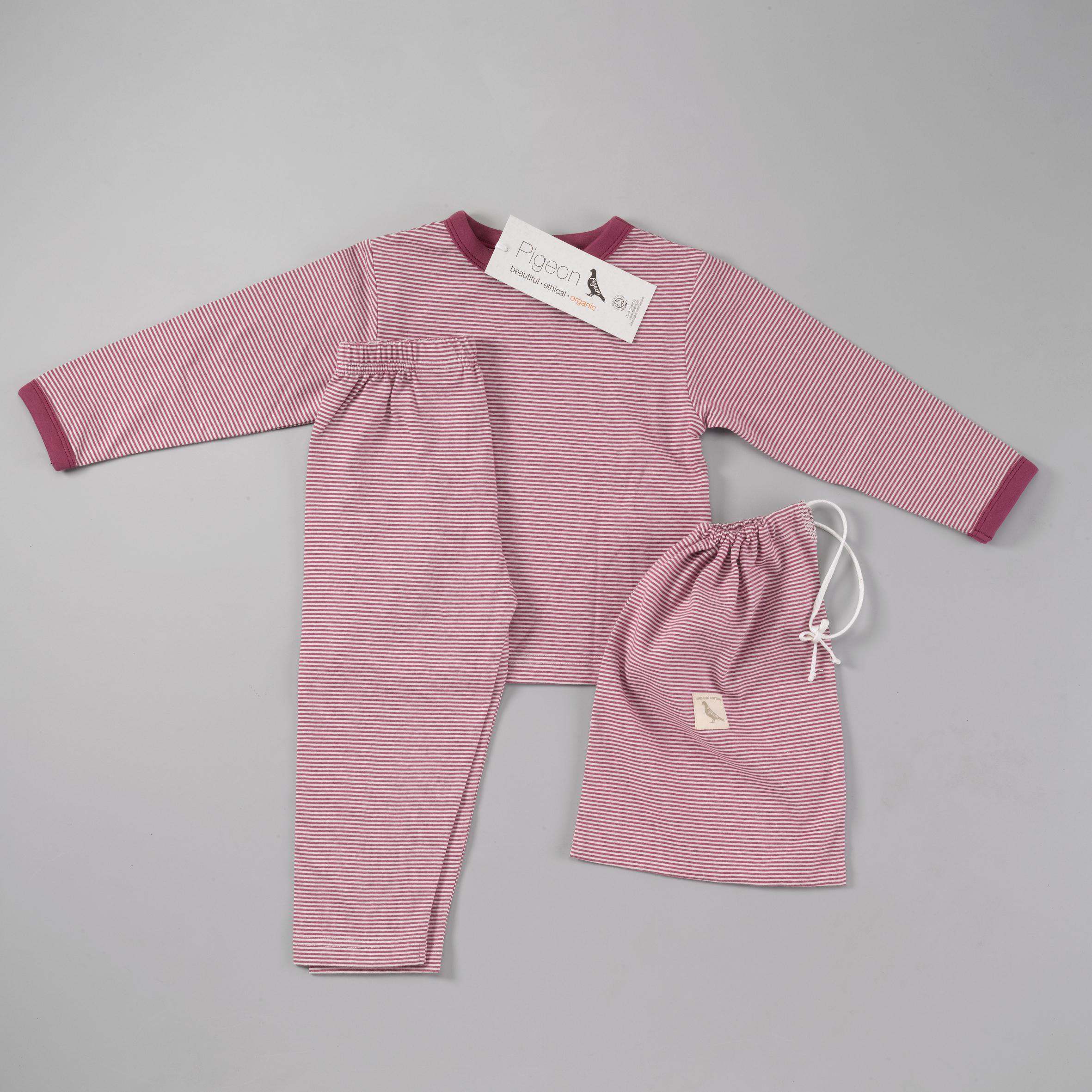 Pigeon - Pyjamas in a bag - fig fine stripe