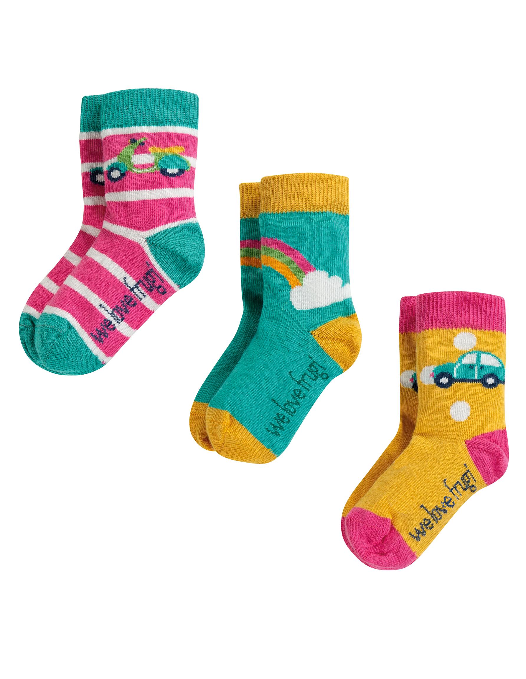 Frugi - Little Socks 3 Pack, Rainbow Mulitpack, 0-6m