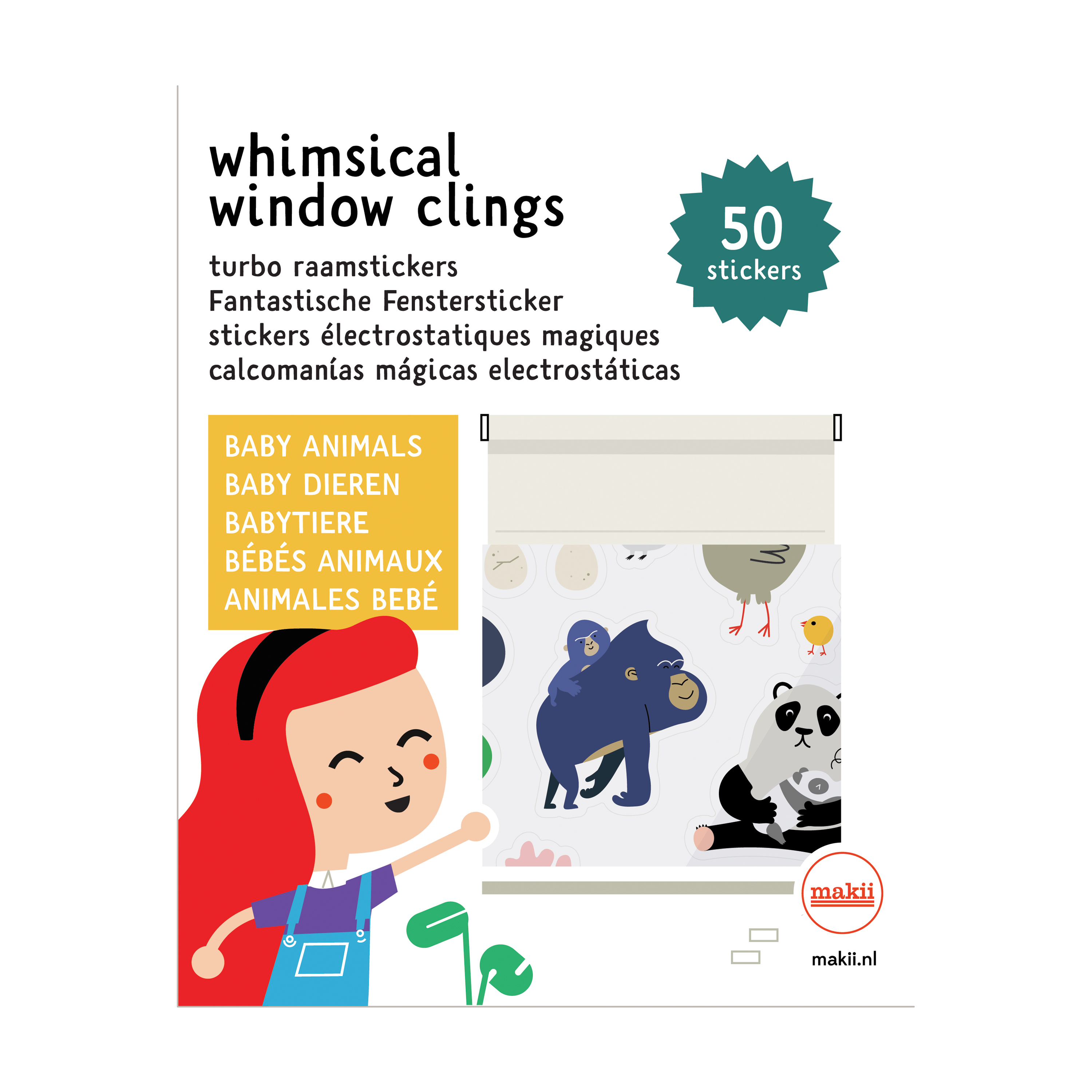 Makii - Whimsical window clings - Baby Animals