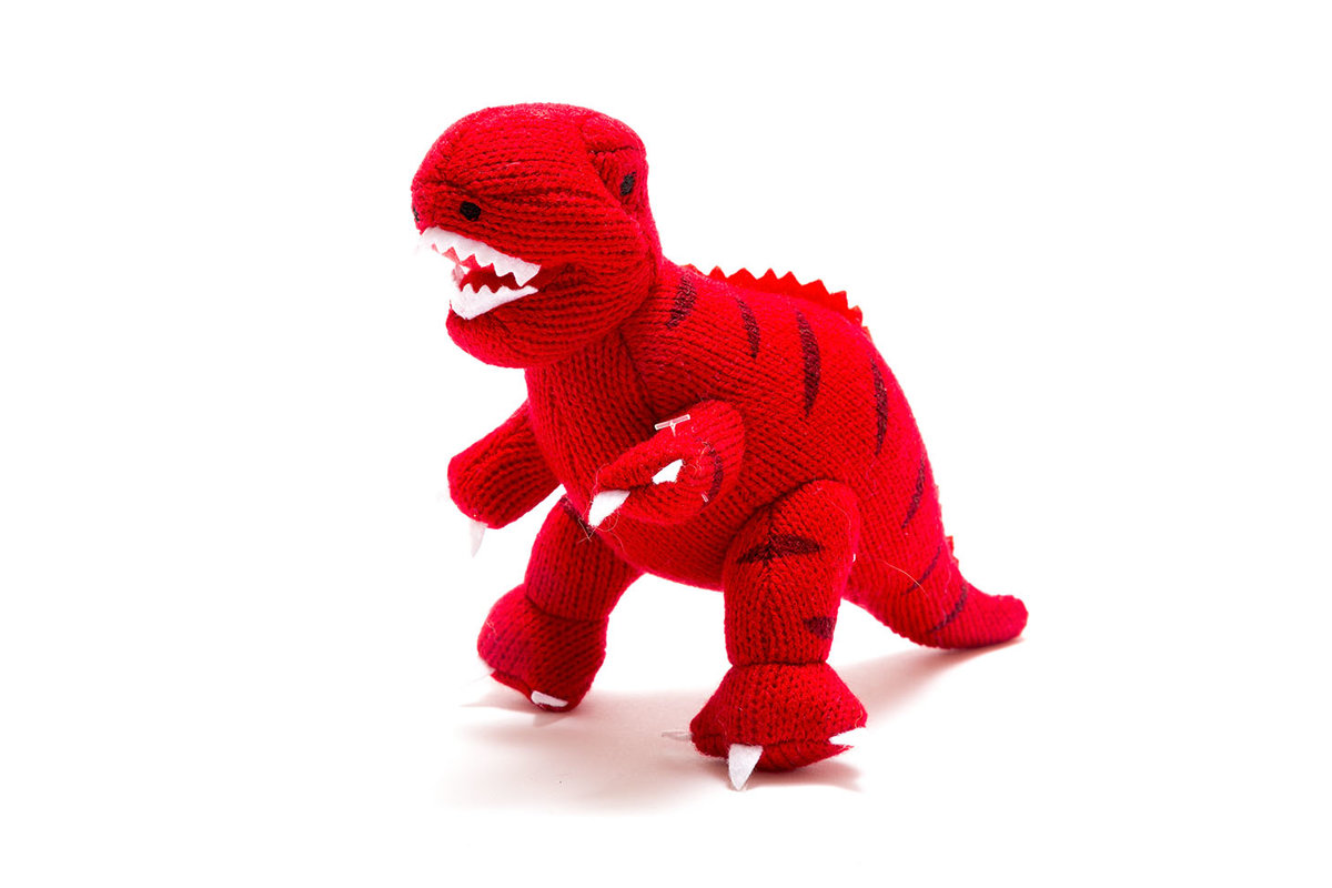 Best Years - Knitted rattle - T-Rex - Red