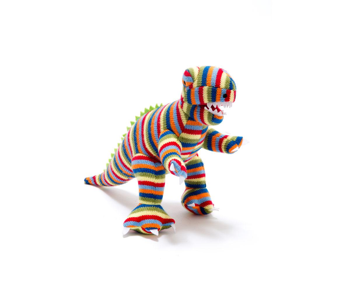 Best Years - Knitted Rattle - T-Rex - stripe