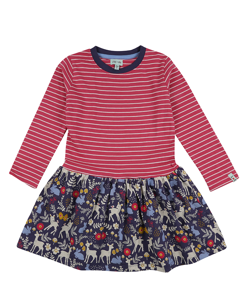 NEW - Lilly + Sid - Fabric mix dress Stripe/Animals