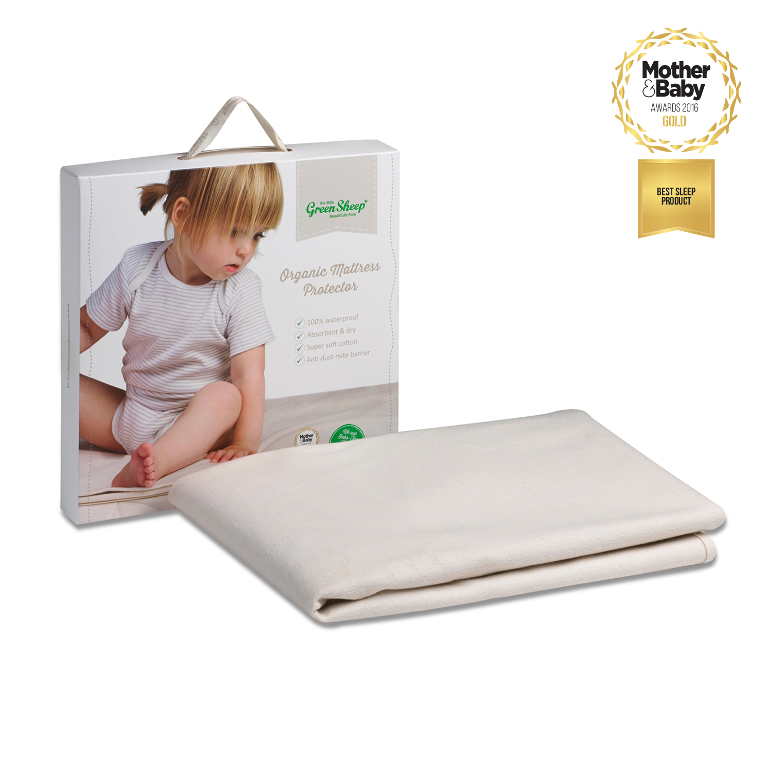 The Little Green Sheep Waterproof SnuzKot 68x117 Cot Bed Mattress Protector