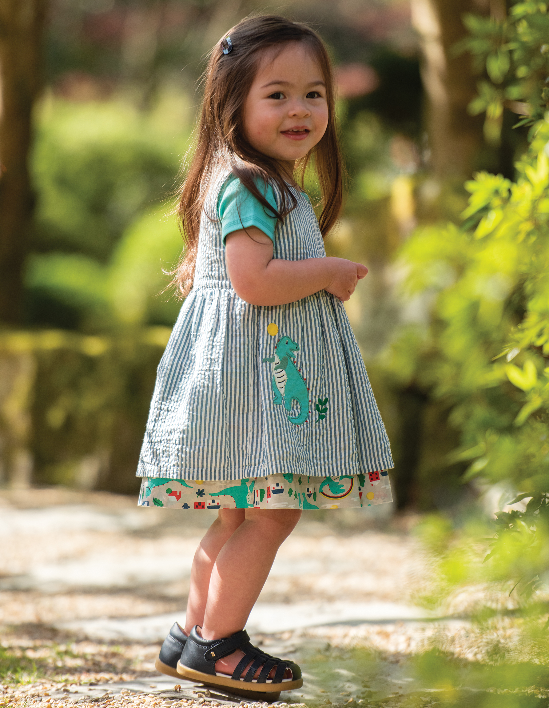 Frugi - Nora reversibe dress - seersucker stripe/dino
