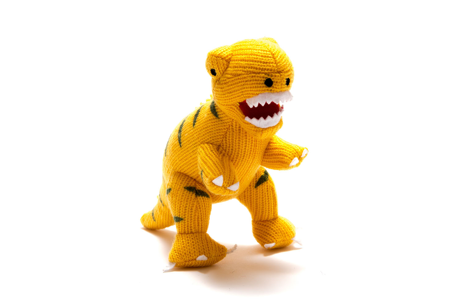 Best Years - Knitted rattle - T-Rex - Yellow