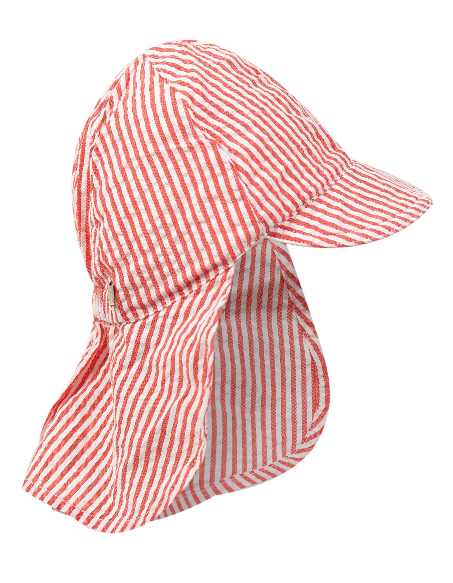 Frugi - Seersucker Legionnaires hat - Koi Red Stripe