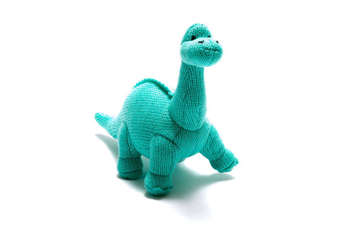 Best Years - Knitted rattle - Diplodocus - Ice Blue
