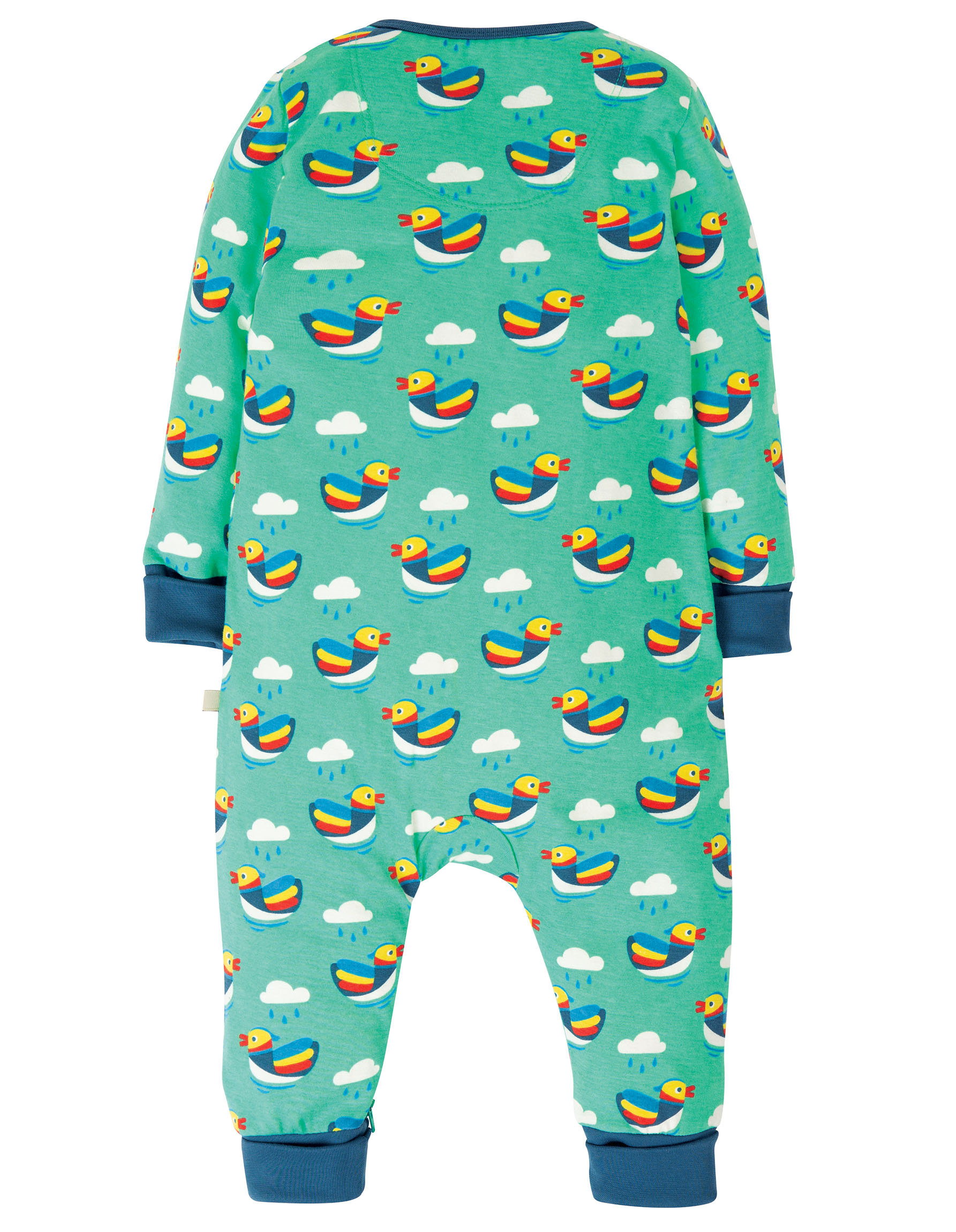 Frugi - Summer zip babygrow - Mandarin Ducks