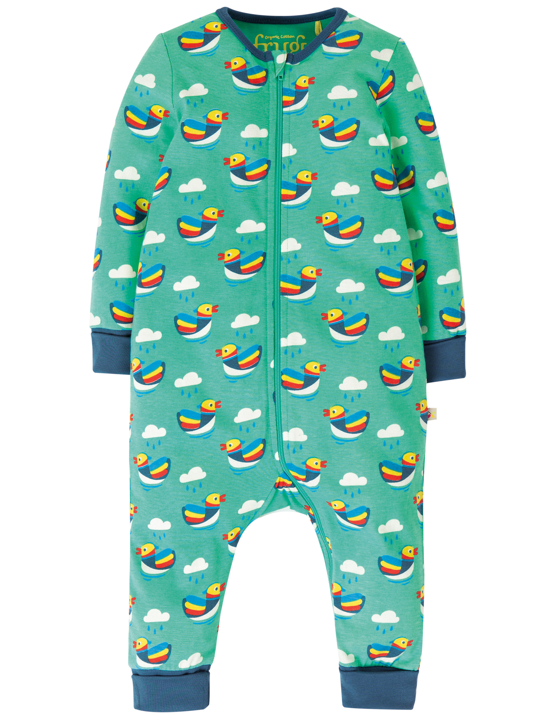 Frugi - Summer zip babygrow - Mandarin Ducks