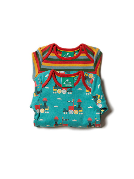 Little Green Radicals - Sky Train Two Pack Baby Body Set