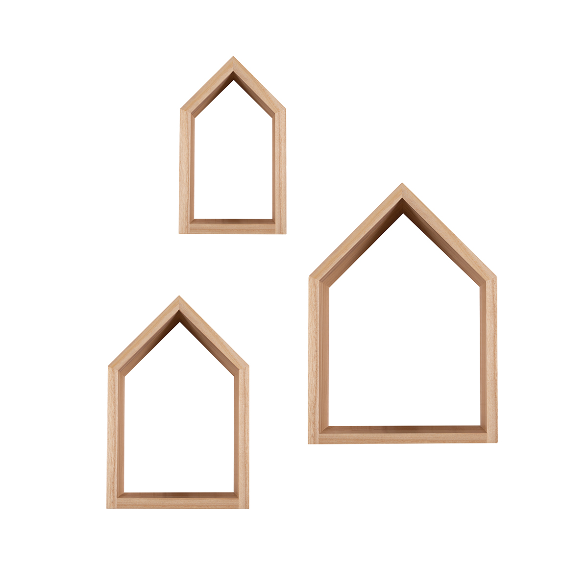 Snuz House Shaped Nursery Shelves (Set of Three) - Natural