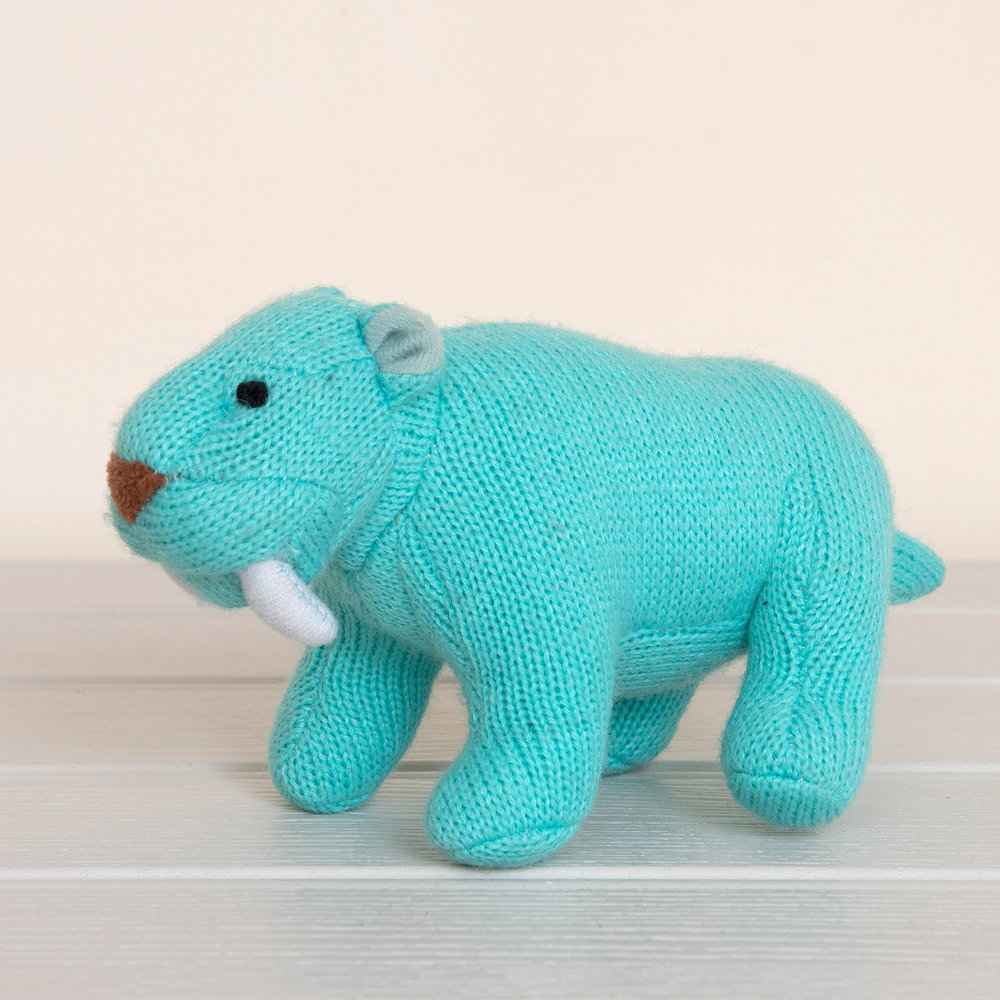 Best Years - Knitted Rattle - Sabre tooth tiger - Ice Blue