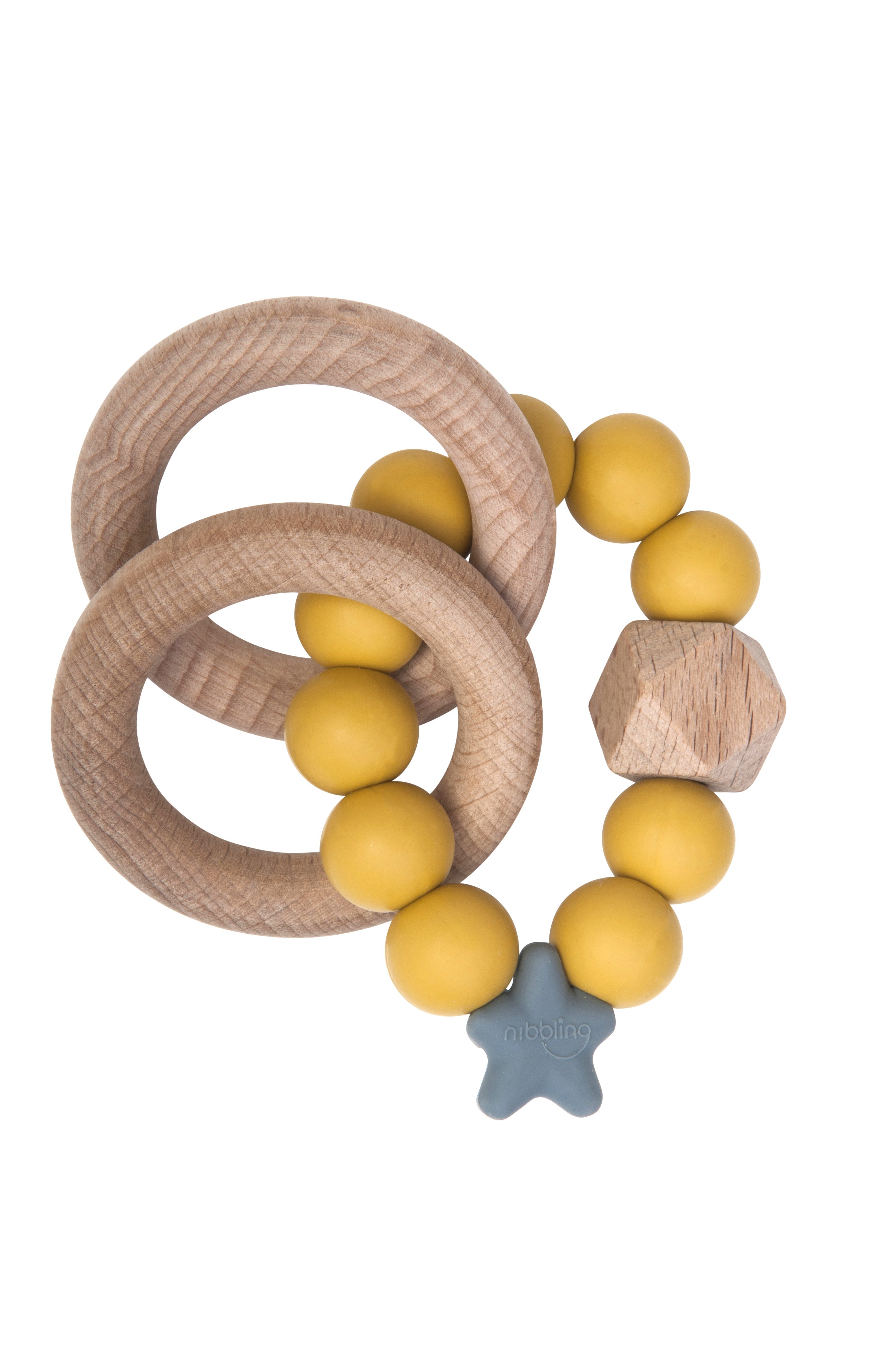 Nibbling - Stella natural wood teething toy - Mustard