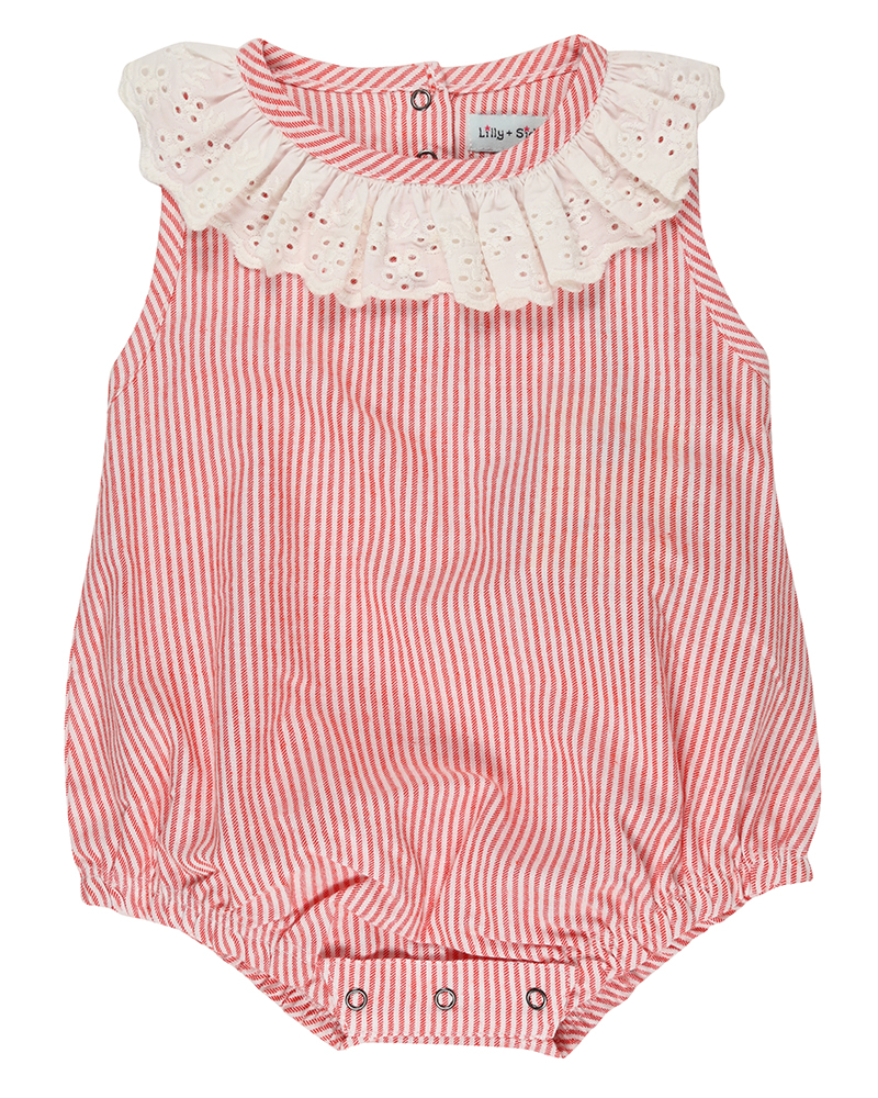 Lilly + Sid - Pink Stripe Bubble Romper