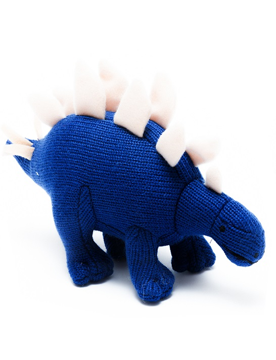 Best Years - Knitted Rattle - Stegosaurus - Blue