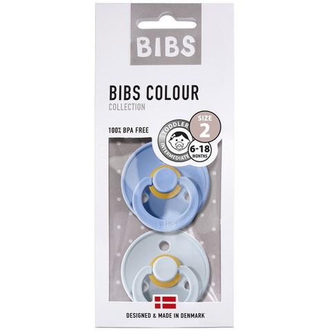 Bibs - Twin Dummy Pack Size 2 - Sky Blue & Baby Blue