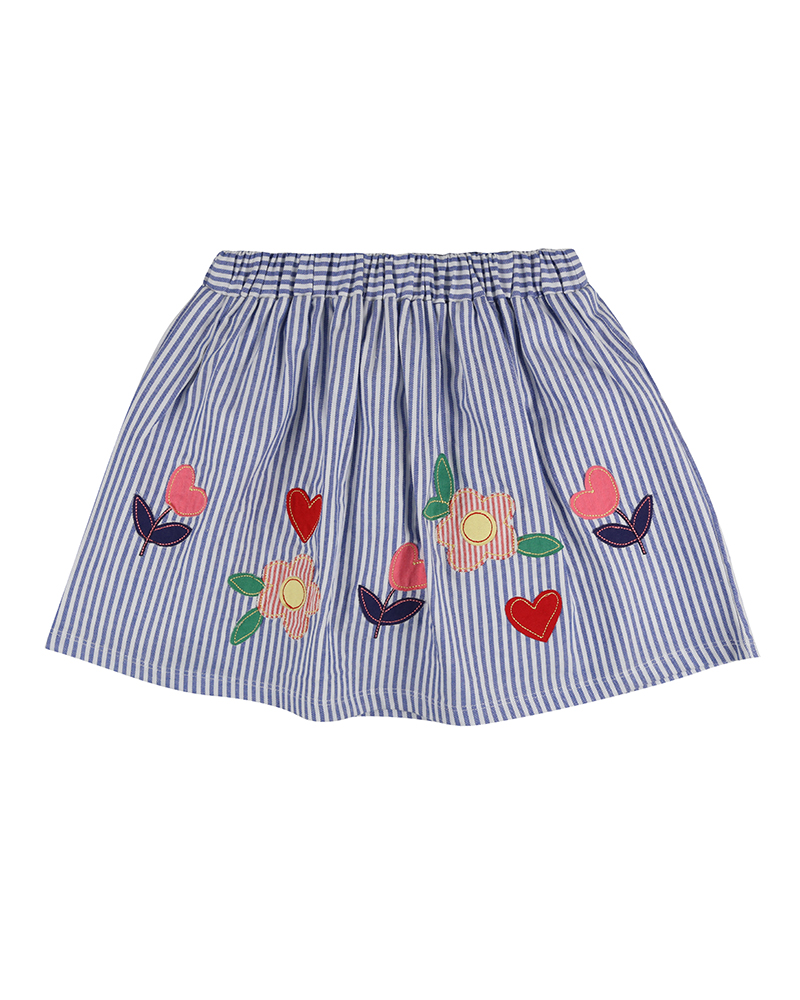 Lilly + Sid - Applique Hem Skirt - Blue Stripe