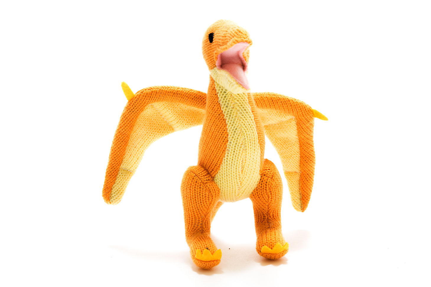 Best Years - Knitted pterodacty rattle yellow