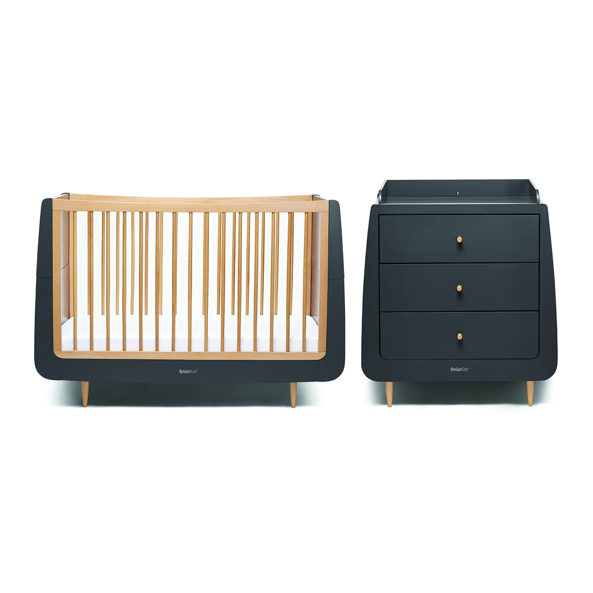 SnuzKot Skandi 2 Piece Nursery Furniture Set - Slate (SAVE £50)