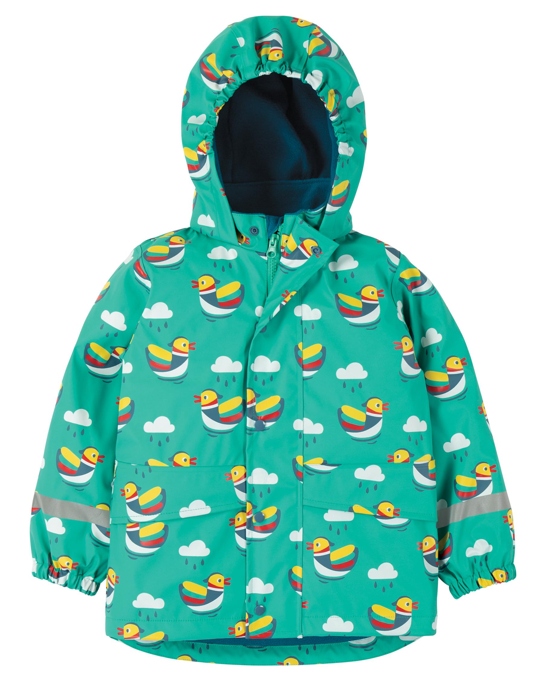 Frugi - puddle buster coat - Pacific aqua mandarin ducks