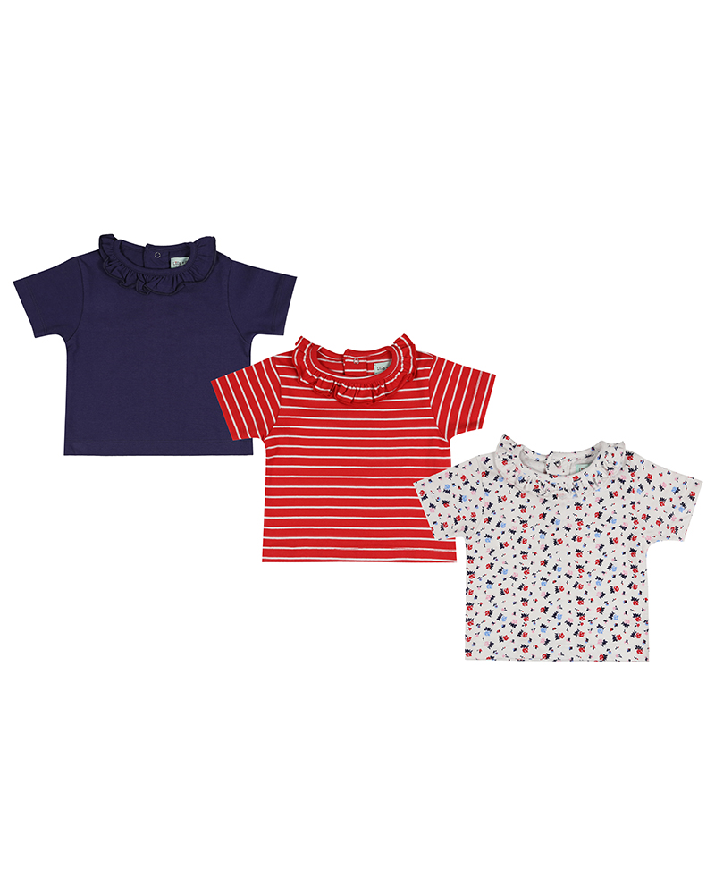 Lilly + Sid - 3pk essential T - Red/Navy/Floral