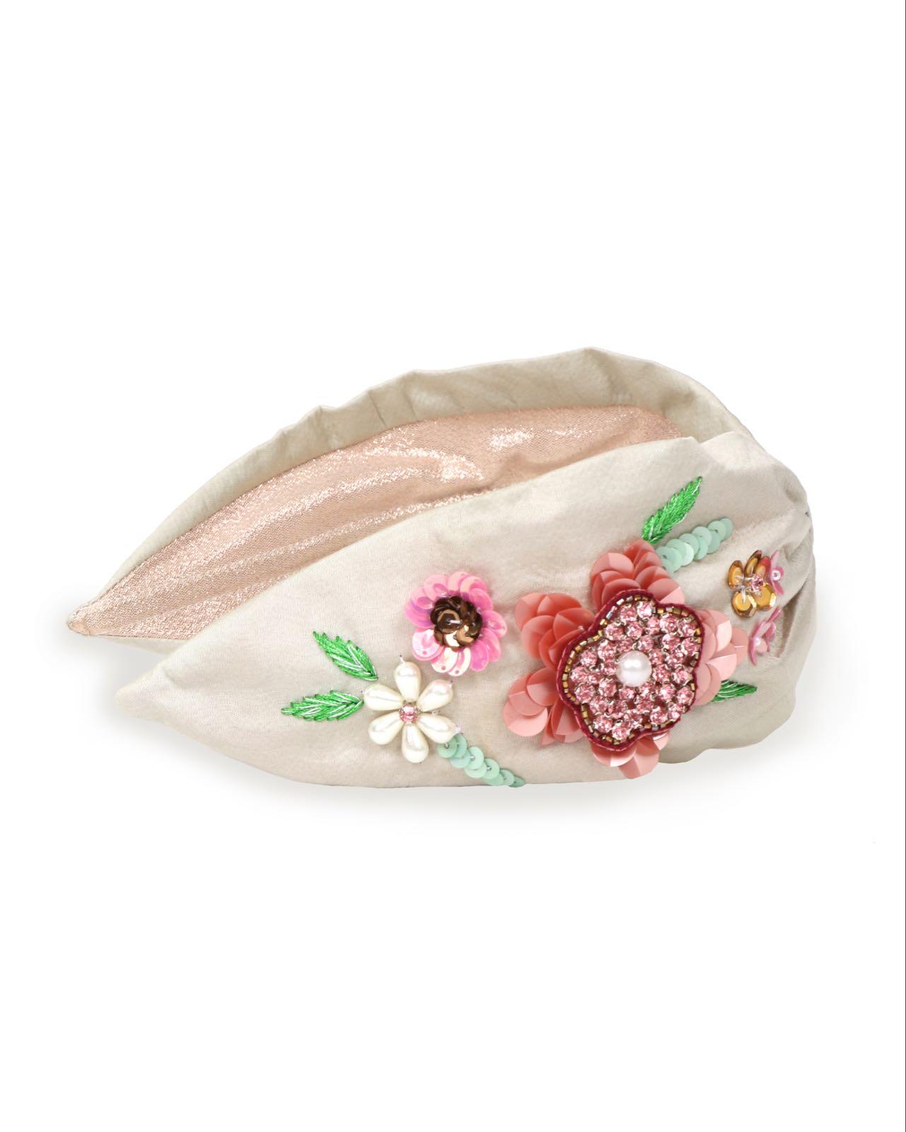 Powder champagne floral headband