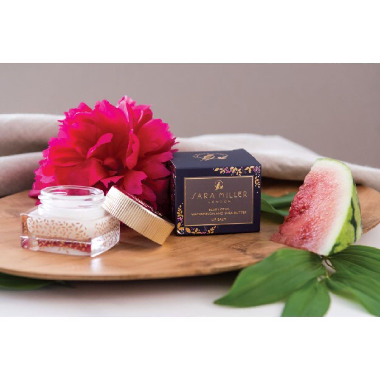 Sara Miller blue lotus and Watermelon Shea butter lip balm