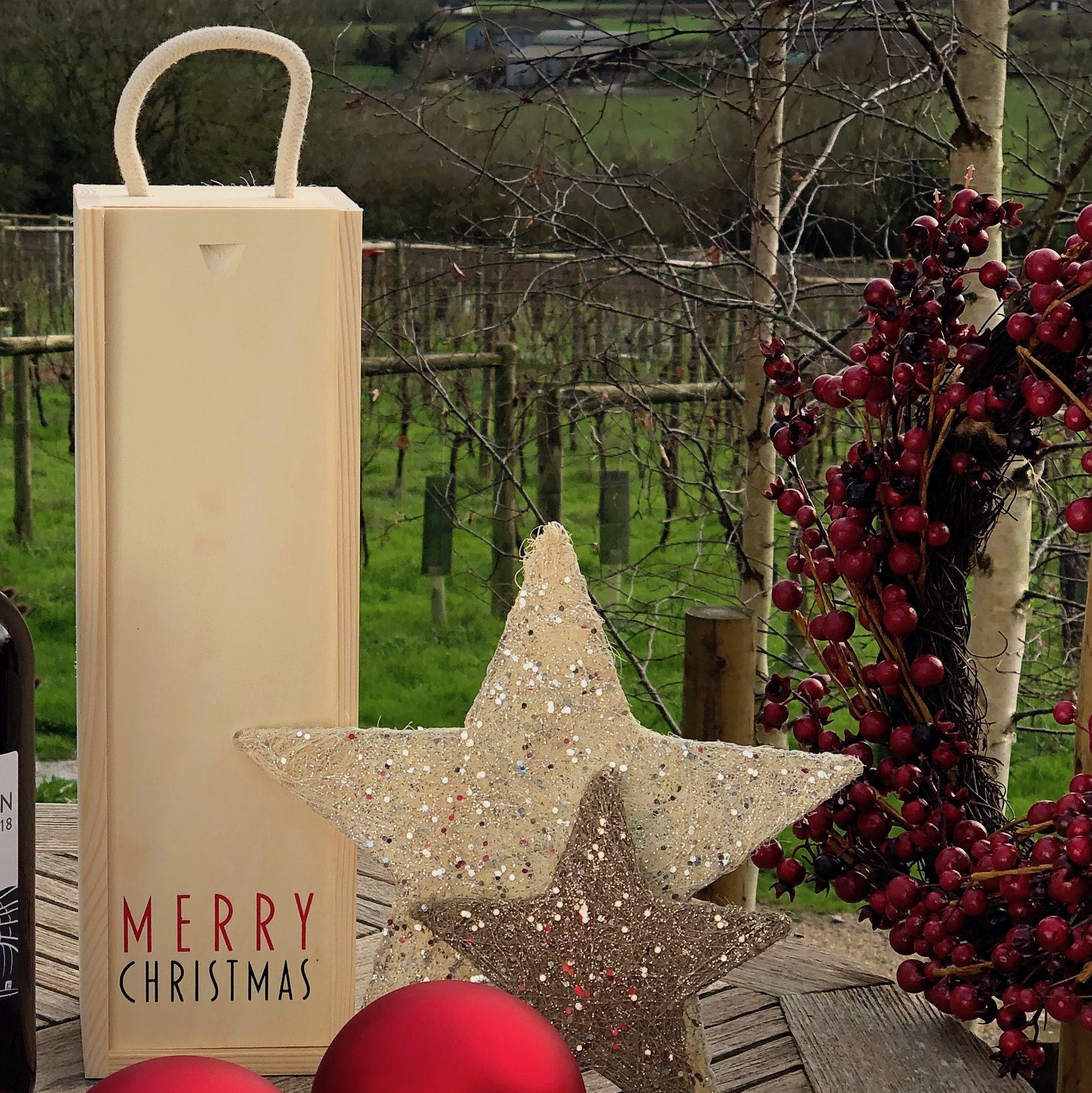 Single bottle Christmas wooden presentation box
