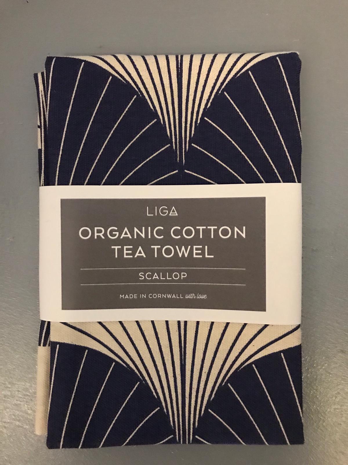 LIGA scallop tea towel