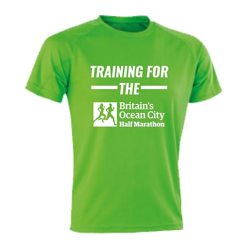Lime Green Training For The Half Marathon t-shirt