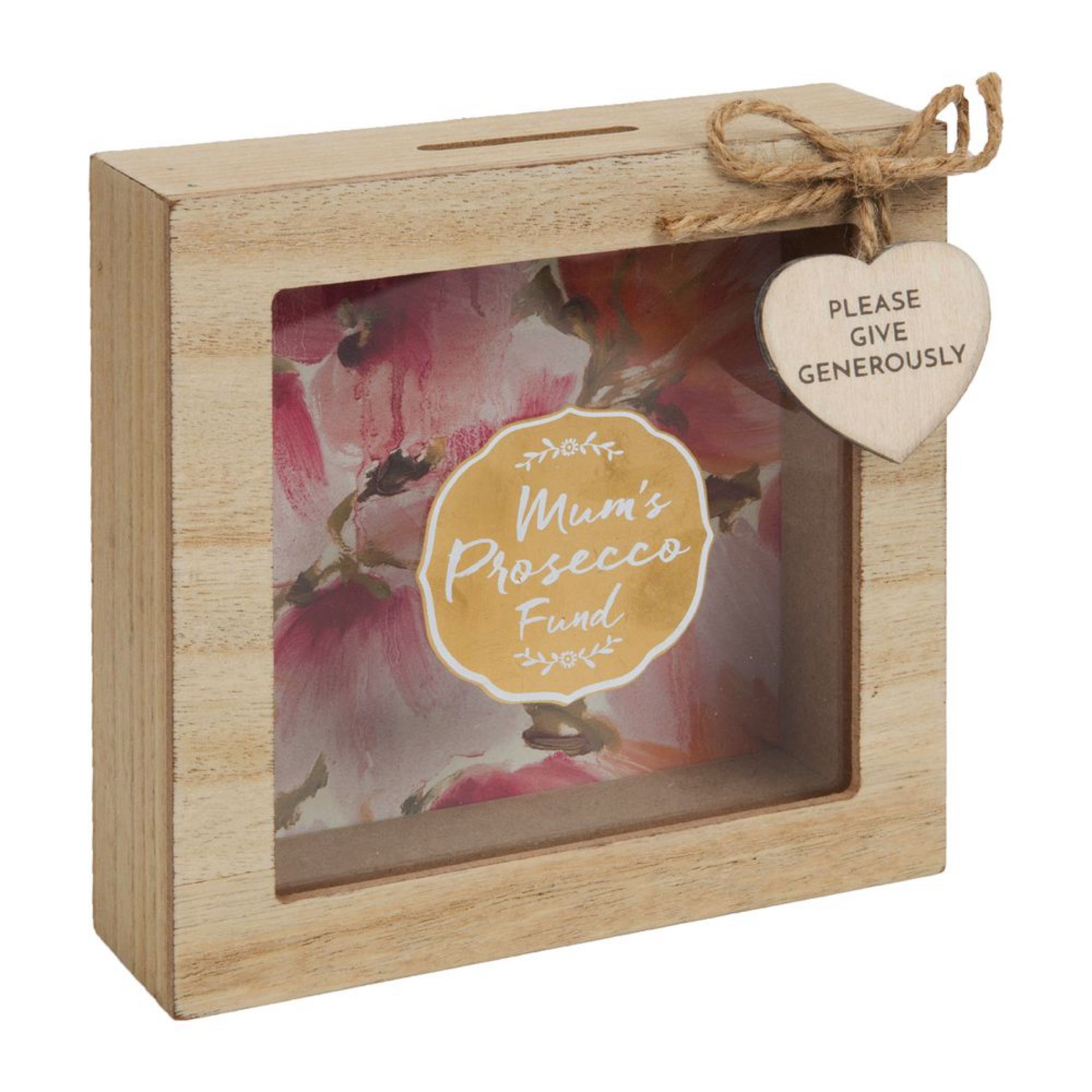 Mum's Prosecco Fund  Wooden Money Box