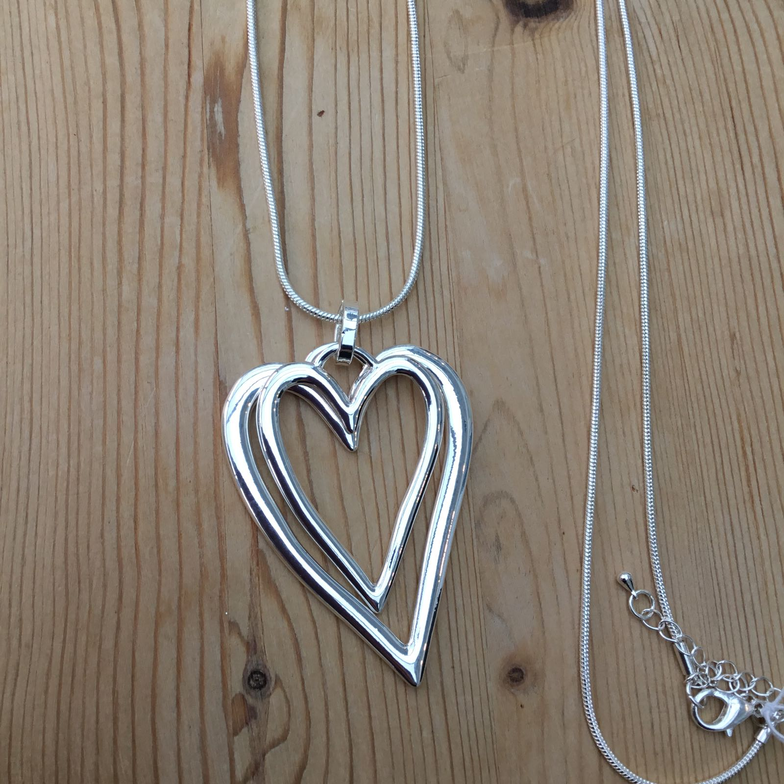 2 Hanging Hearts Necklace - Silver
