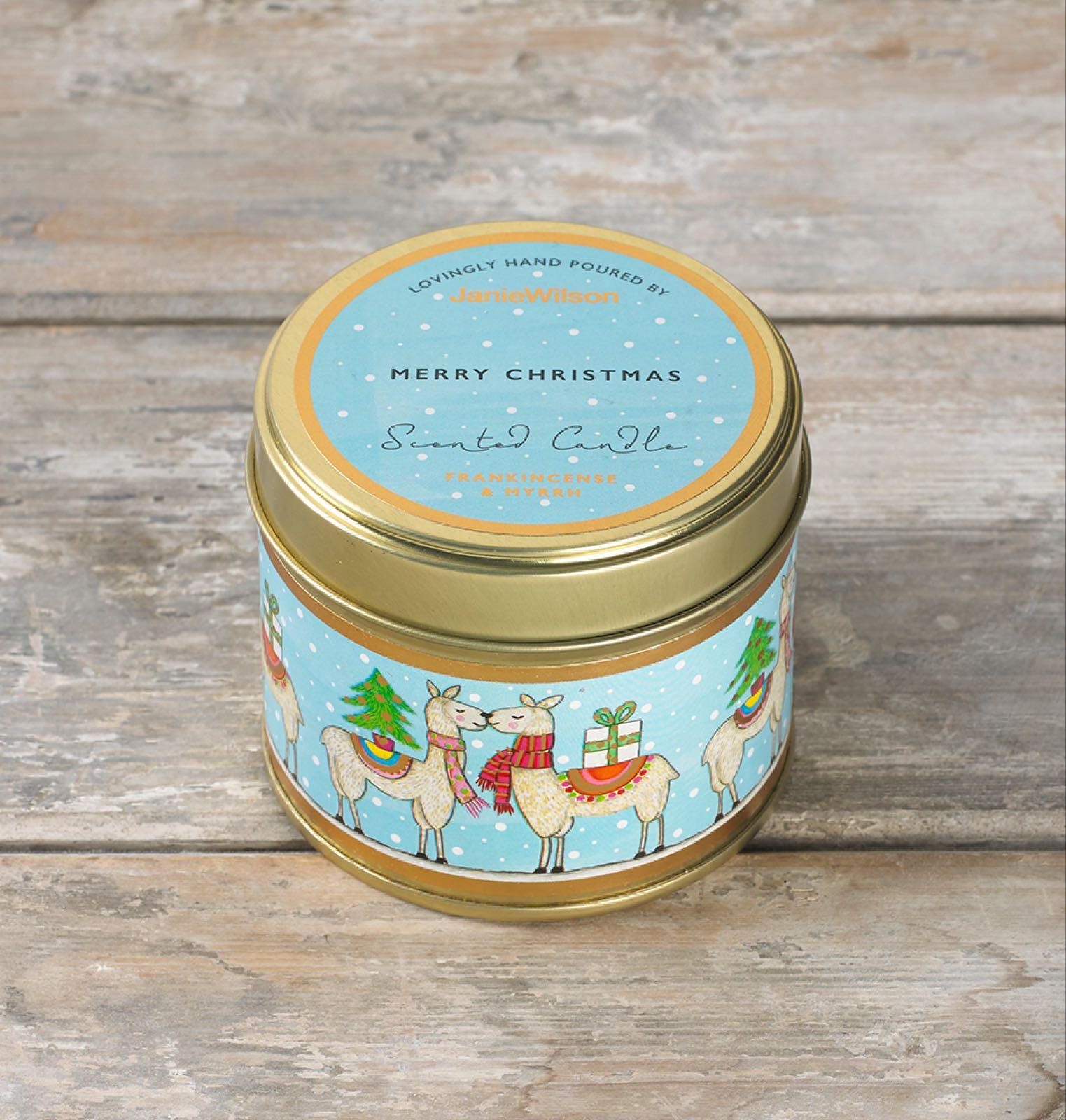 Janie wilson Merry Christmas fragranced frankincense and myrrh large tinned candle