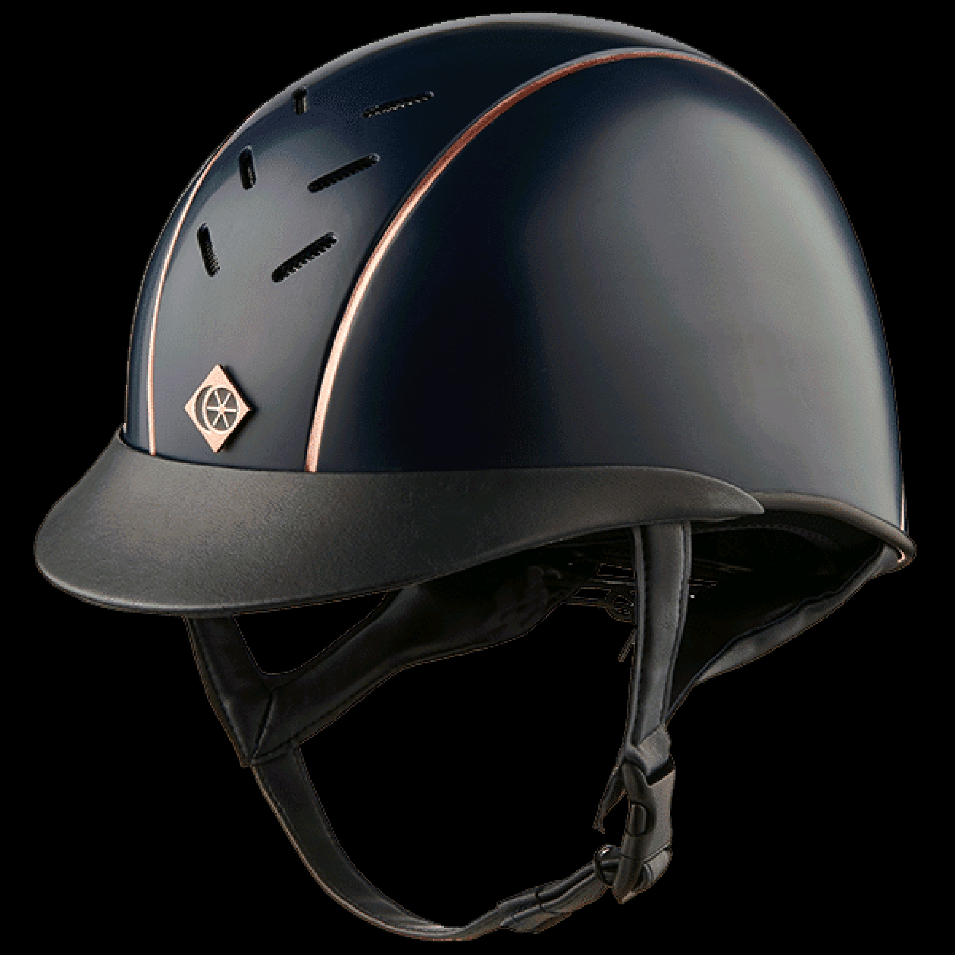 Charles Owen Navy Ayrbush Helmet With R/G Pinstripe