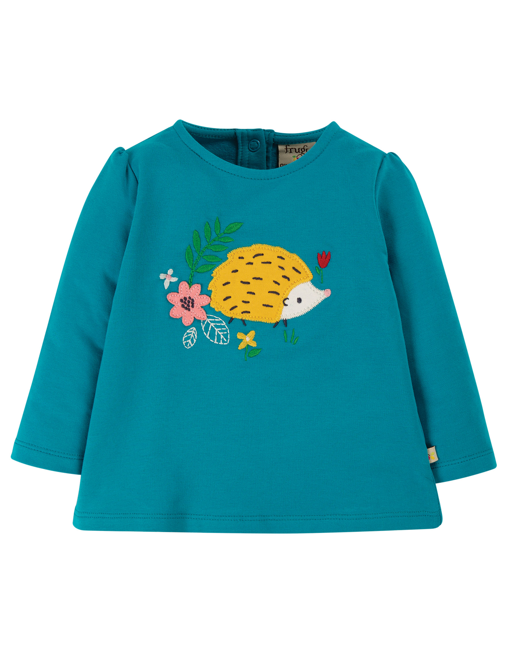Frugi Little Alana Appliqué Top, Tobermory Teal/Hedgehog