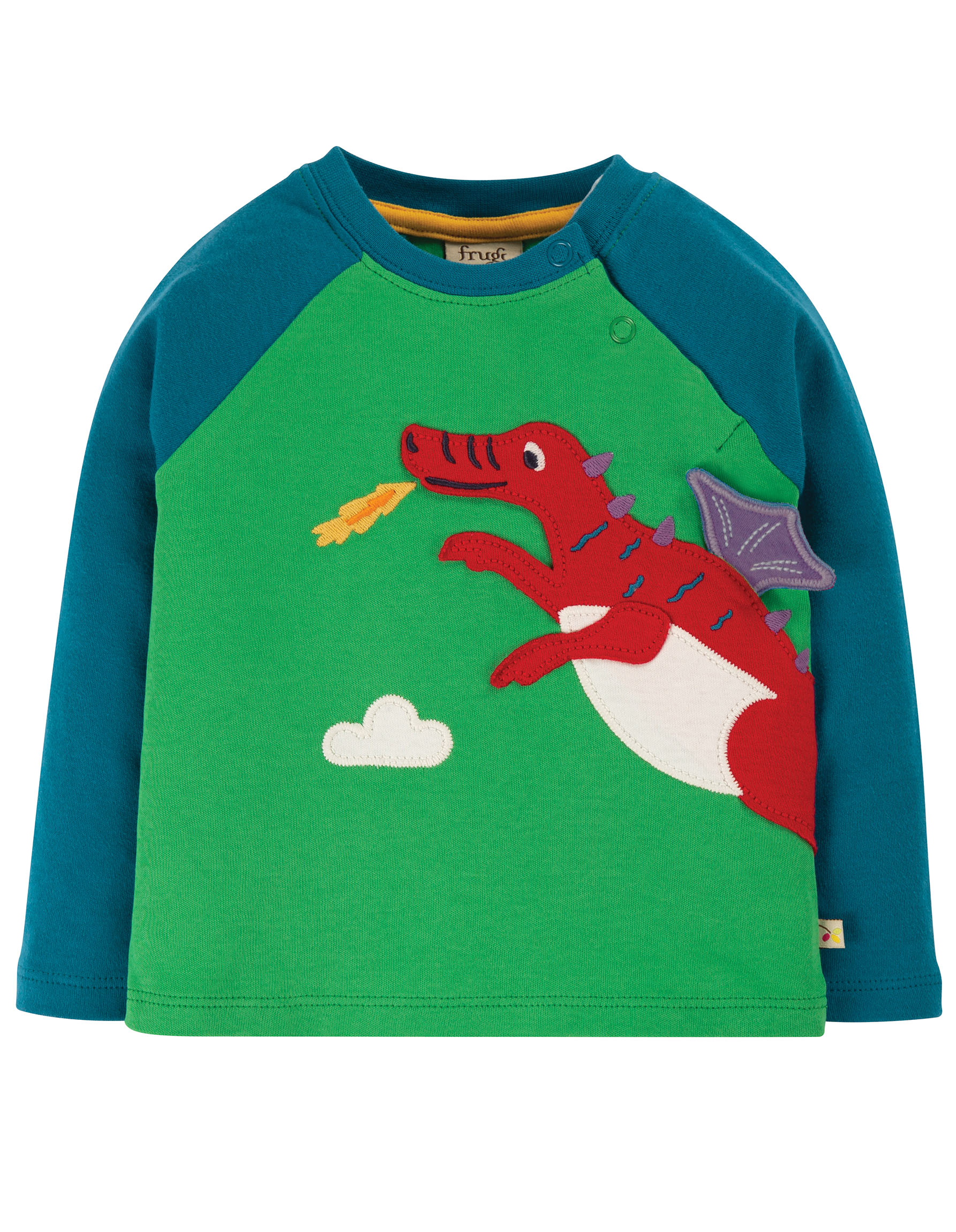 Frugi  Little Albert Appliqué Top, Glen Green/ Dragon