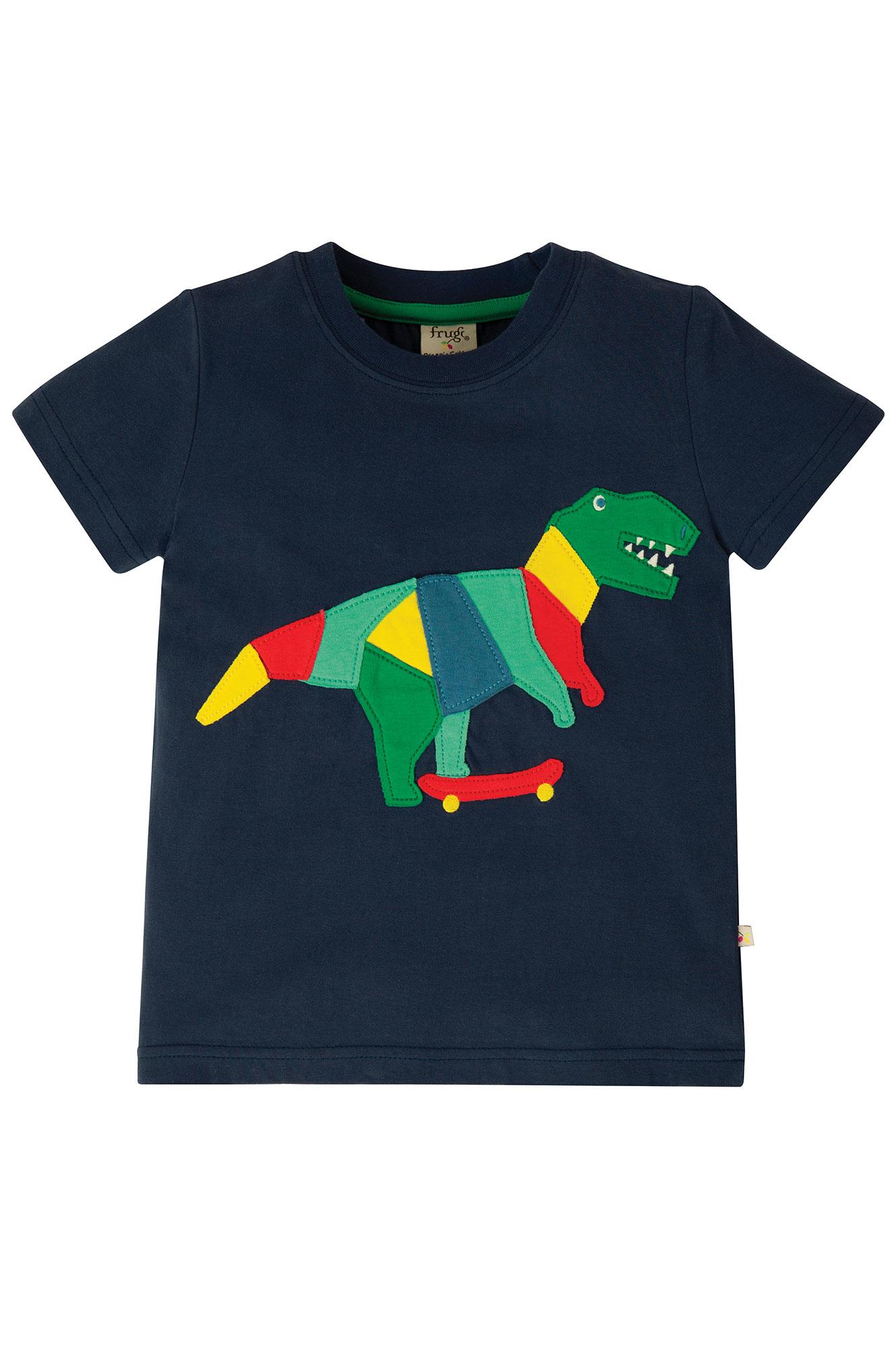 Frugi Stanley Applique T-Shirt, Indigo/Dino