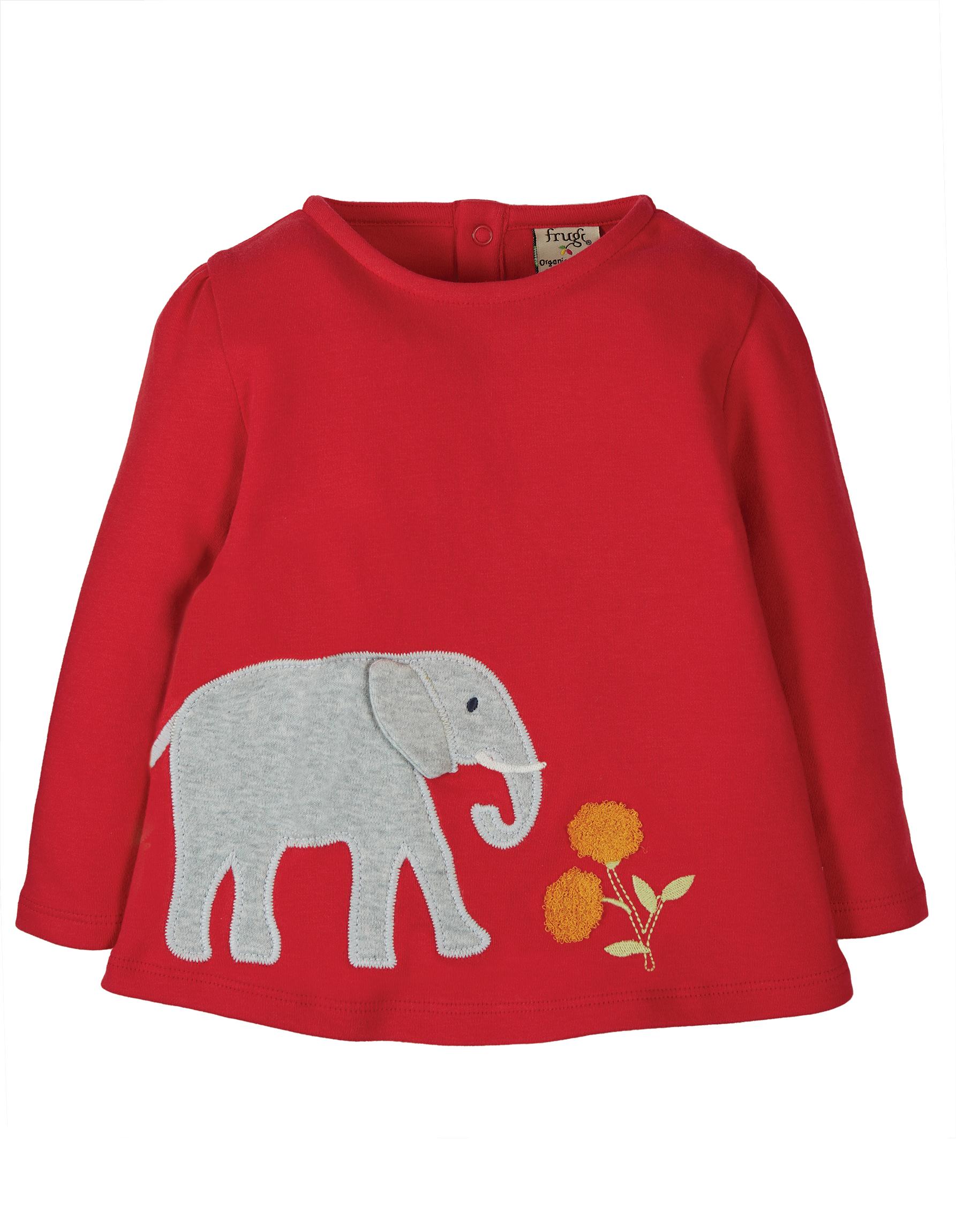 Frugi Connie Applique Top, True Red Elephant