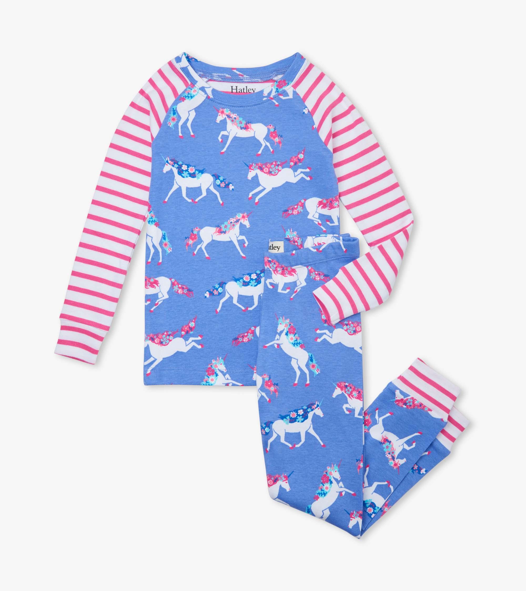 Hatley Dreamy Unicorns Organic Cotton Raglan Pyjama Set