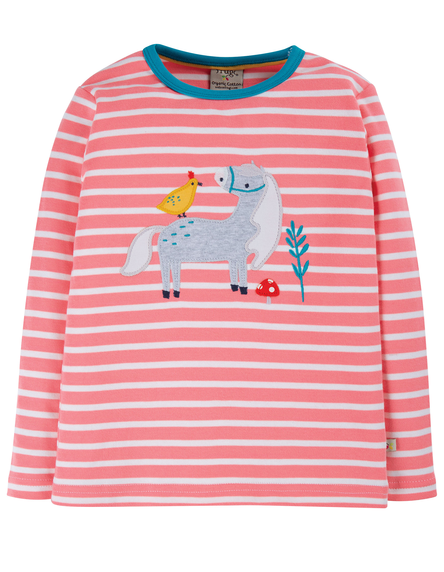 Frugi Discovery Appliqué Top, Guava Pink Stripe/Horse