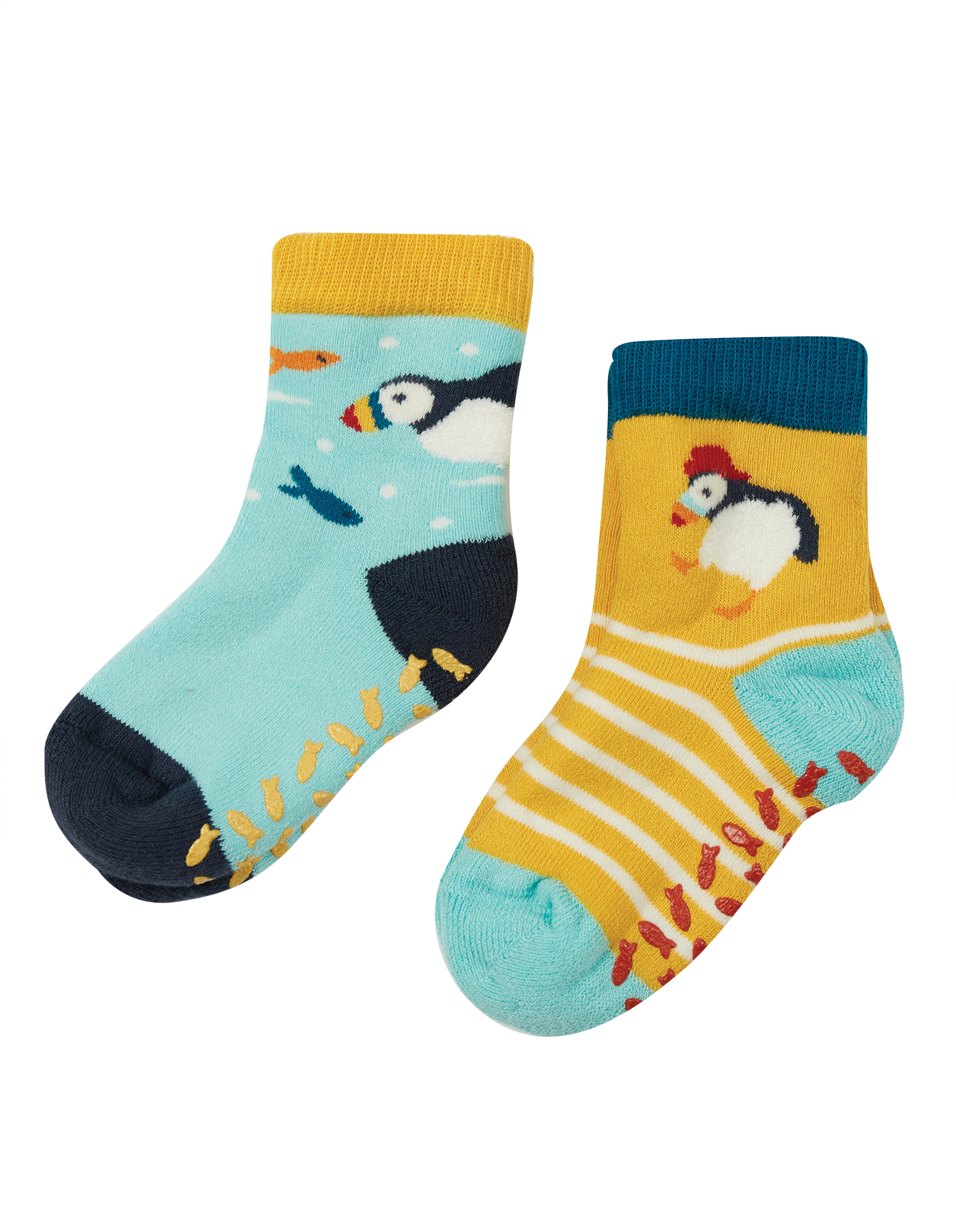 Frugi The National Trust Grippy Socks, 2 Pack Puffin